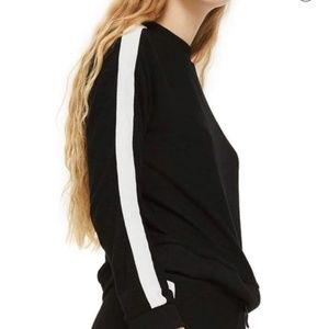 TOPSHOP | Side Stripe Black Sweatshirt Sweater 2